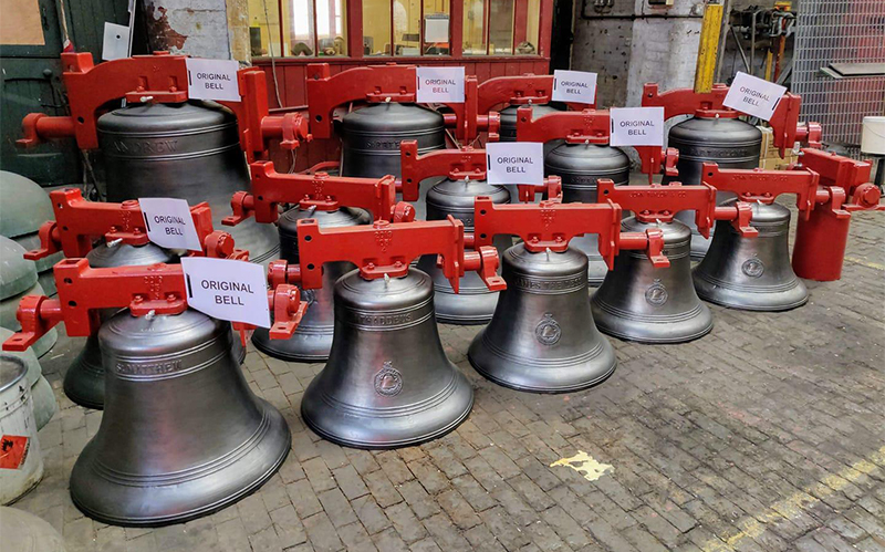 Bells with headstock fitted, waiting to return to Singapore